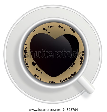 Top view of black coffee cup isolated on white background. Photo-realistic raster version.
