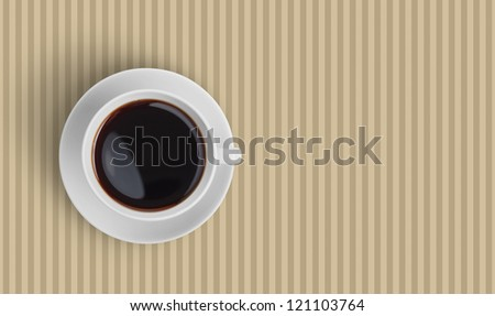 Top view of black coffee cup on striped background - stock photo