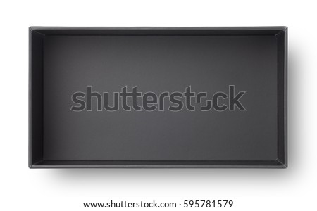 Top view of black paper box isolated on white background #595781579