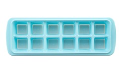 Top view of blue plastic ice cube tray isolated on white.