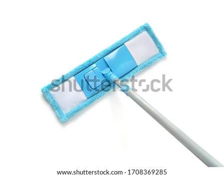 Top view of blue plastic mop isolated on white Stock foto ©