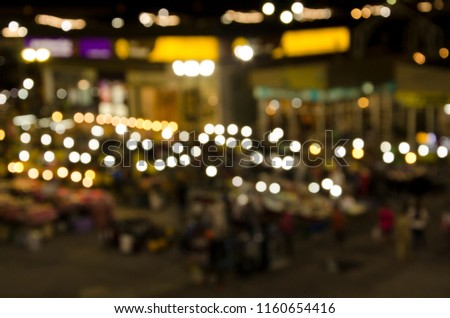Top view of blurry lights in the market