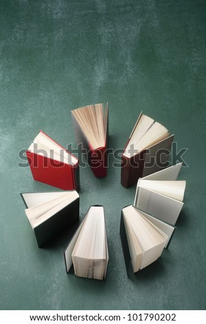 top view of books in a circle