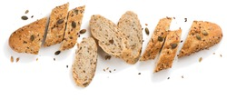Top view of bread with different seeds ( pumpkin,  poppy, flax, sunflower, sesame,  millet ) decorated with wheat ears isolated on white background.