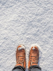 Top view of brown shoes / boots in fresh snow. Winter season.