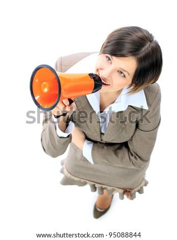 Top view of business woman speak in megaphone - stock photo