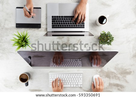 top view of business working desk