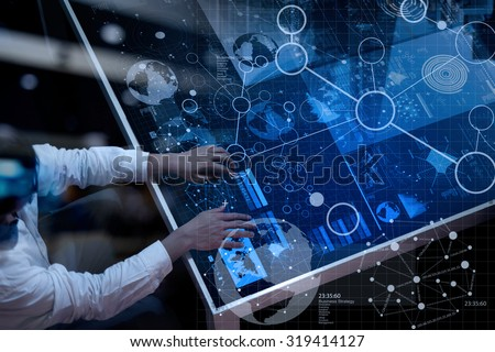 top view of businessman hand working with modern technology and digital layer effect as business strategy concept #319414127