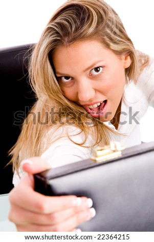 top view of businesswoman opening the bag  in an office