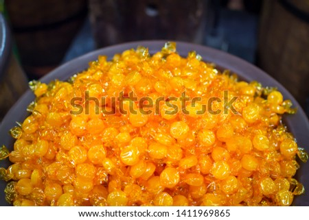 Top view of butterscotch candy #1411969865