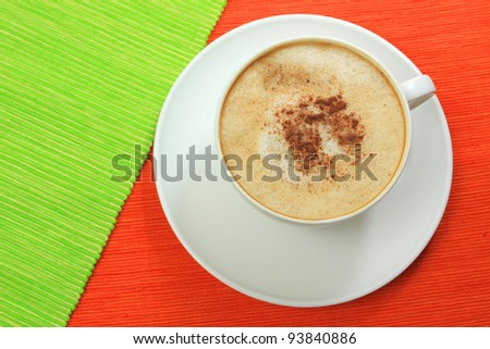 Top view of cappuccino cup