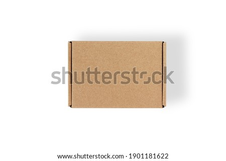 Top view of carton isolated on a white background with clipping path. Brown cardboard delivery box. Foto stock ©