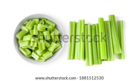 Top view of celery in white bowl isolated on white background Stockfoto ©