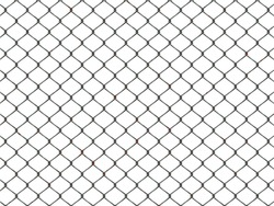 Top view of chain link fence isolated on white background