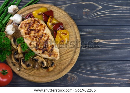 top view of chicken steak with...