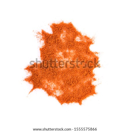 Top view of Chili Powder (paprika powder) isolated on white background