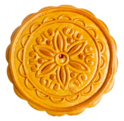 Top View of Chinese Traditional Mooncake, exotic pastry for Mid-Autumn Festival, isolated on white background. Clipping path