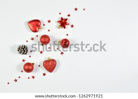 Top view of Christmas day backdrop composition. Valentine's Day background. Flat lay of Christmas decoration with copy space on white background.  #1262971921