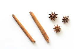 Top view of cinnamon stick and star anise spice isolated on white background