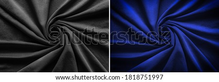 Photo of  Top view of circular spiral fabric, black and blue cotton fabric, blue and black cloth background, Spiral swirl fabric, swirl cloth, Twisted background, twisted cloth,
