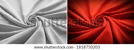 Top view of circular spiral fabric, Gray and red cotton fabric, Red and gray cloth background, Spiral swirl fabric, swirl cloth, Twisted background, twisted cloth,