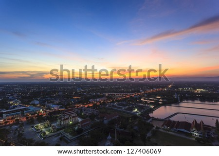Top view  of cityscape sunset