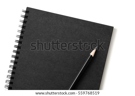 Top view of close up notebook black cover with pencil on white desk background