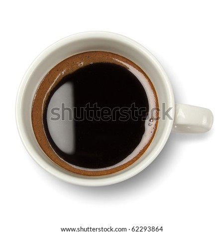 Top view of coffee cup isolated on white