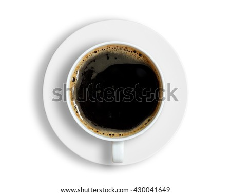 Top view of coffee cup isolated on white background. #430041649