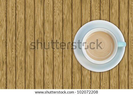 Top view of coffee cup on the wooden table - stock photo