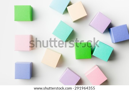 top view of colorful blank paper boxes on white background. copy space available #291964355