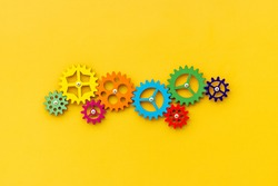 Top view of colorful gears. Corporate work and modern business process concept