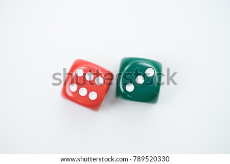 Top view of Colorful Rolling the dice concept for business risk, chance, good luck or gambling.white background. #789520330