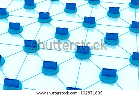 top view of computer folder icons connected each other; concept of network and of data exchange (3d render)