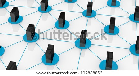 top view of computers connected each other; concept of network and of data exchange (3d render)