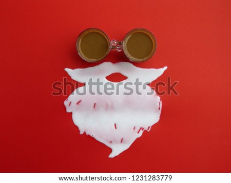 Top view of creative Santa Claus made of coffee cup, Milk white beard on red background for Merry Christmas, Poster advertisement, Season's Greetings decoration image design symbolic on Happy holidays #1231283779