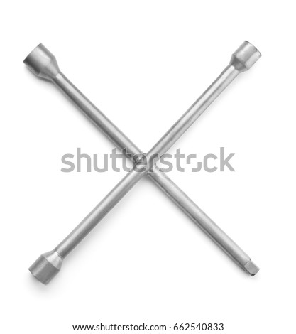 Top view of cross wheel wrench isolated on white
