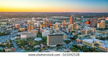 Top view of downtown San Antonio in Texas USA #561042538