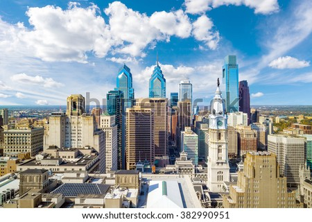 Top view of downtown skyline Philadelphia USA