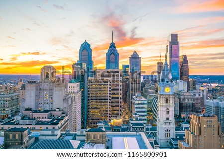 Top view of downtown skyline Philadelphia USA at sunset #1165800901