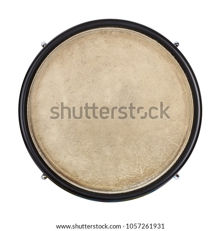 Top view of drum leather isolated on white background. Drum head
