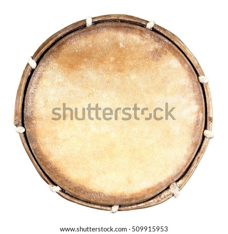 Top view of drum leather isolated on white background. Drum head isolated