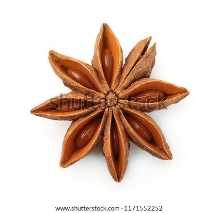 Top view of dry star anise fruit  and seeds isolated on white