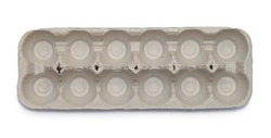 Top View of Empty Egg Carton Isolated on White.