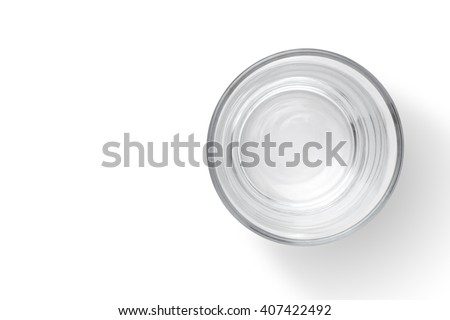 Top view of empty glass cup on white background #407422492