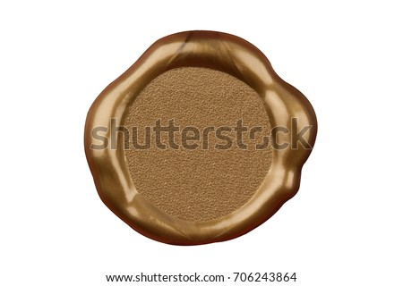 top view of empty golden wax plastic seal with gold foil and copyspace isolated on white background
