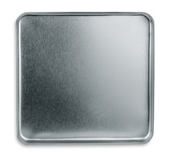 Top view of empty metal box isolated on white