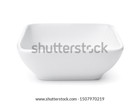 Top view of empty small square bowl isolated on white isolated on white #1507970219