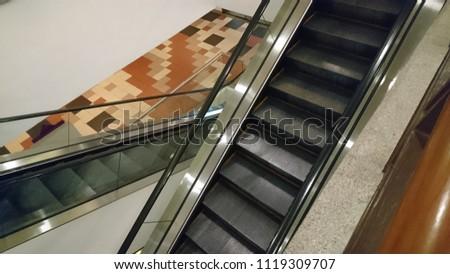 Top view of escalator interior #1119309707