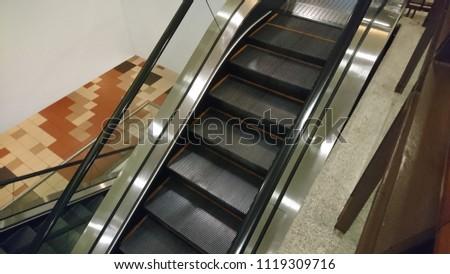 Top view of escalator interior #1119309716
